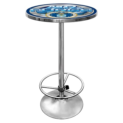 Trademark Global® 28 Solid Wood/Chrome Pub Table, Gray, US Air Force
