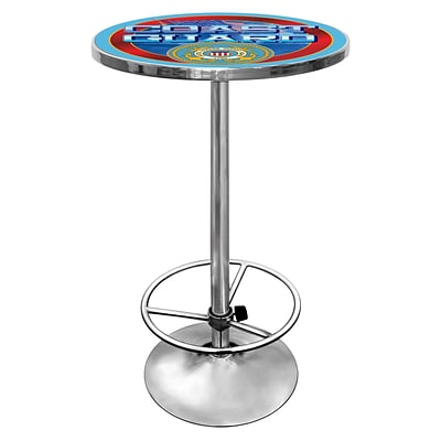 Trademark Global® 28 Solid Wood/Chrome Pub Table, Red, US Coast Guard