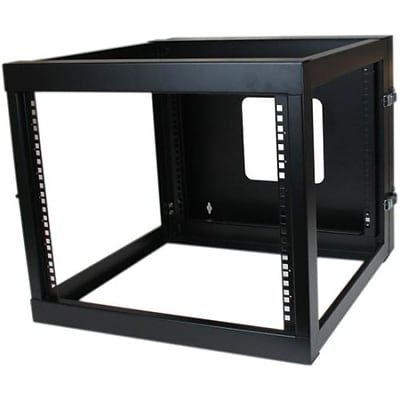 Startech RK819WALLOH 8U Hinged Open Frame Wall Mount Server Rack; Black
