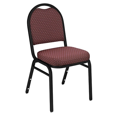 NPS #9268-BT Dome-Back Fabric Padded Stack Chair, Diamond Burgundy/Black Sandtex - 80 Pack