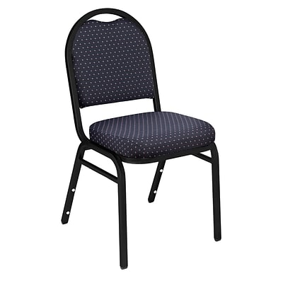 NPS #9264-BT Dome-Back Fabric Padded Stack Chair, Diamond Navy/Black Sandtex - 40 Pack