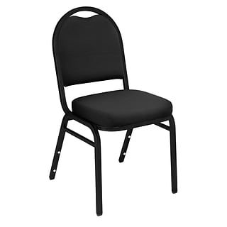 NPS #9260-BT Dome-Back Fabric Padded Stack Chair, Ebony Black/Black Sandtex - 40 Pack