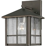 Aurora® 9 1/4 x 7 100 W 1 Light Outdoor Lantern W/Clear Seeded Glass Shade, Royal Bronze