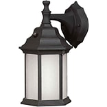 Aurora® 12 x 6 1/2 18 W 1 Light Outdoor Lantern W/Frosted Seeded Glass Shade, Black