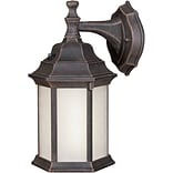 Aurora® 12 x 6 1/2 18 W1 Light Outdoor Lantern W/Frosted Seeded Glass Shade, Painted Rust