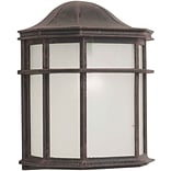Aurora® 10 x 8 18 W1 Light Outdoor Lantern W/White acrylic Panel Shade, Painted Rust