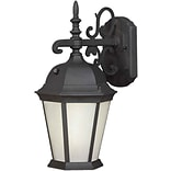 Aurora® 18 1/4 x 9 1/2 26 W1 Light Outdoor Lantern W/Frosted Seeded Glass Shade, Black