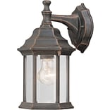 Aurora® 12 x 6 1/2 100 W 1 Light Outdoor Lantern W/Clear Beveled Glass Shade, Painted Rust
