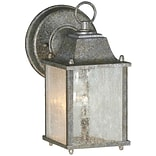 Aurora® 8 3/4 x 4 1/2 60 W 1 Light Outdoor Lantern W/Clear Seeded Glass Shade, River Rock