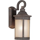 Aurora® 1 Light Outdoor Lantern W/Umber Seeded Glass Shade; Painted Rust