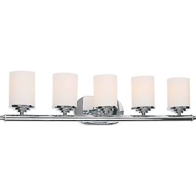 Aurora® 7 x 29 1/2 100 W 5 Light Bath Vanity With Satin Opal Glass Shade, Chrome