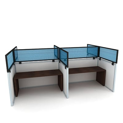 Obex Polycarbonate Cubicle Mount Privacy Panel W/Large Bracket & Black Frame; 12 x 36, Blue