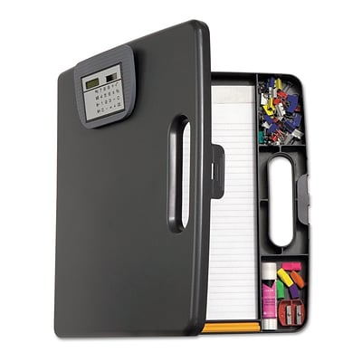Officemate® 1 Capacity Plastic Portable Storage Clipboard Case With Calculator; Charcoal