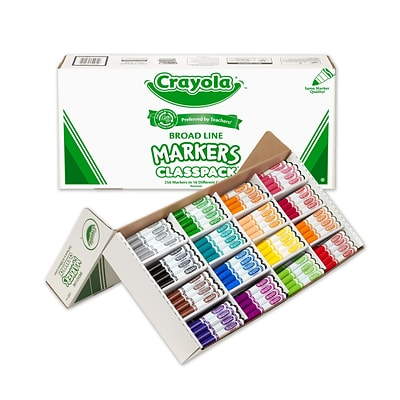 Crayola® Classpack® Non-Washable Markers, Broad Tip, Assorted Colors, 256/Box