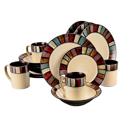 Gibson® Elite Tabella Mosaic Dinnerware Set, 16 Piece, Cream