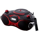 Axess® PB2704 Portable Boombox MP3/CD Player W/Text Display/AM/FM Stereo, Black/Red