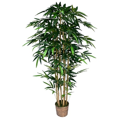 Laura Ashley 72 High End Realistic Silk Bamboo Tree in Wicker Basket Planter