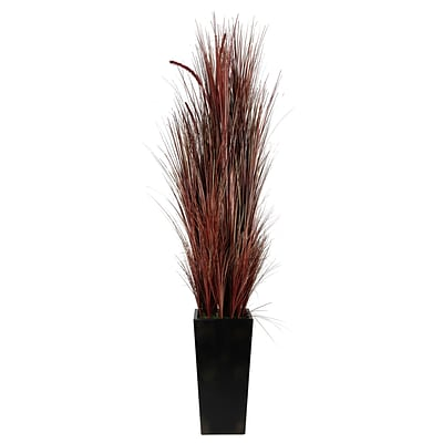 Laura Ashley 84 High End Realistic Silk Burgundy Onion Grass and Cattails Floor Plant