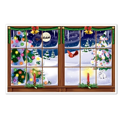 Beistle 3 2 x 5 2 Snowy Christmas Backdrop; 2/Pack