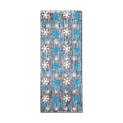 Beistle 8 x 3 Snowflake 1-Ply Glm N Curtain; Silver/Blue/White