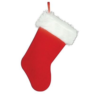 Beistle 15 Plush Christmas Stocking; Red/White, 4/Pack