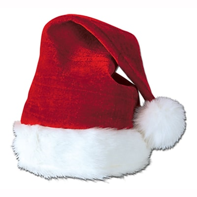 Beistle Santa Hat With Plush Trim, One Size, Red
