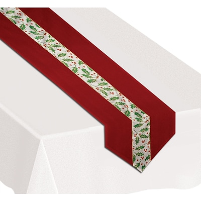 Beistle 12 x 6 Christmas Holly Table Runner; Red, 2/Pack