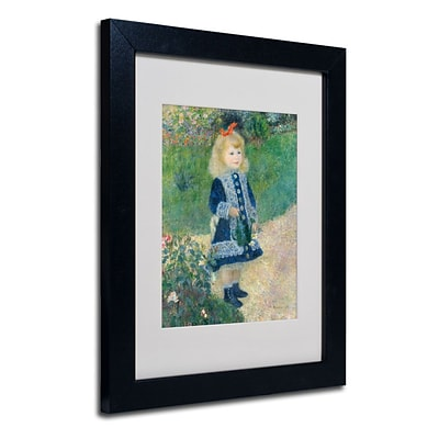 Trademark Fine Art A Girl With a Watering Can 11 x 14 Black Frame Art
