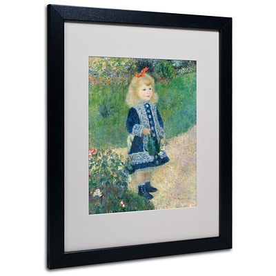 Trademark Fine Art A Girl With a Watering Can 16 x 20 Black Frame Art
