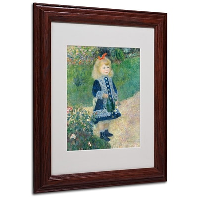 Trademark Fine Art A Girl With a Watering Can 11 x 14 Wood Frame Art