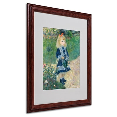 Trademark Fine Art A Girl With a Watering Can 16 x 20 Wood Frame Art