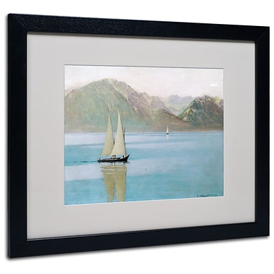 Trademark Fine Art Boat On Lake Geneva 1892 16 x 20 Black Frame Art
