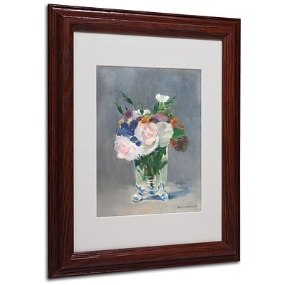 Trademark Fine Art Flowers In a Crystal Vase 11 x 14 Wood Frame Art
