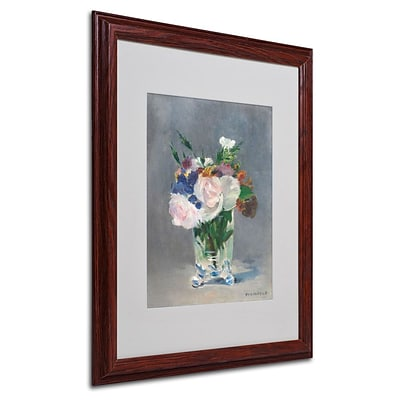 Trademark Fine Art Flowers In a Crystal Vase 16 x 20 Wood Frame Art