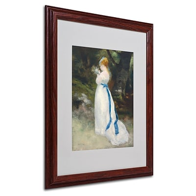 Trademark Fine Art Lady In White 16 x 20 Wood Frame Art