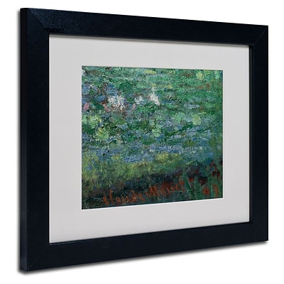 Trademark Fine Art The Waterlily Pond Green 11 x 14 Black Frame Art