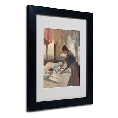 Trademark Fine Art Woman Ironing 1876-87 11 x 14 Black Frame Art