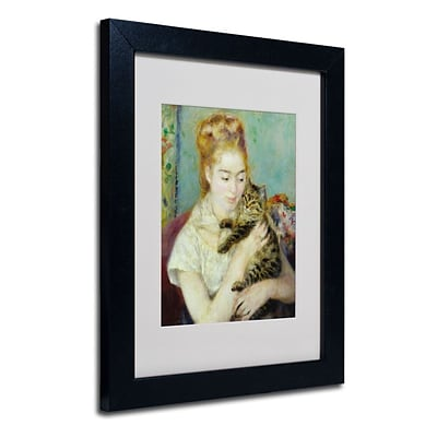 Trademark Fine Art Woman With a Cat 1875 11 x 14 Black Frame Art