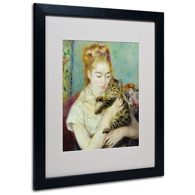 Trademark Fine Art Woman With a Cat 1875 16 x 20 Black Frame Art