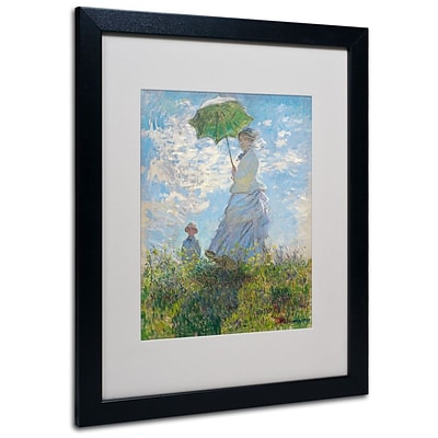 Trademark Fine Art Woman With a Parasol 1875 16 x 20 Black Frame Art