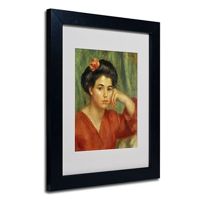 Trademark Fine Art Young Woman With a Rose 11 x 14 Black Frame Art
