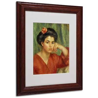 Trademark Fine Art Young Woman With a Rose 11 x 14 Wood Frame Art