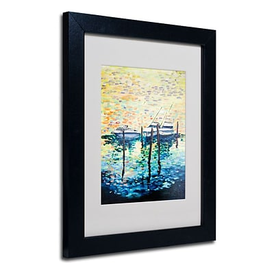 Trademark Fine Art 3 Boats 11 x 14 Black Frame Art