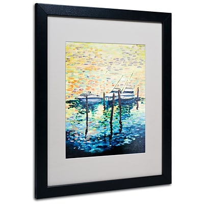 Trademark Fine Art 3 Boats 16 x 20 Black Frame Art