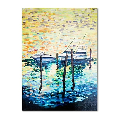 Trademark Fine Art 3 Boats 14 x 19 Canvas Art