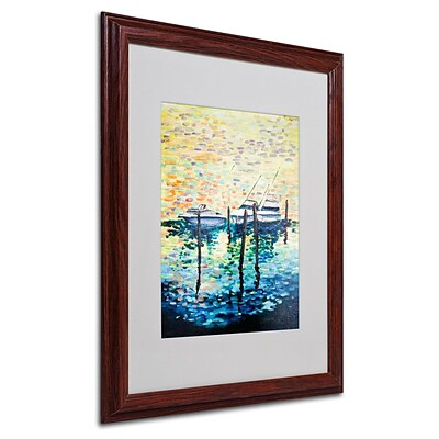 Trademark Fine Art 3 Boats 16 x 20 Wood Frame Art
