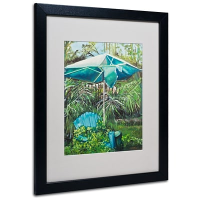 Trademark Fine Art Chair Umbrella Garden 16 x 20 Black Frame Art