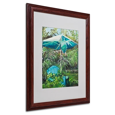 Trademark Fine Art Chair Umbrella Garden 16 x 20 Wood Frame Art