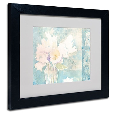 Trademark Fine Art White and Teal Composition 11 x 14 Black Frame Art