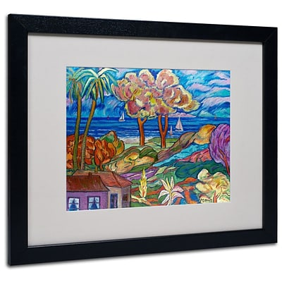 Trademark Fine Art House By the Beach  16 x 20 Black Frame Art